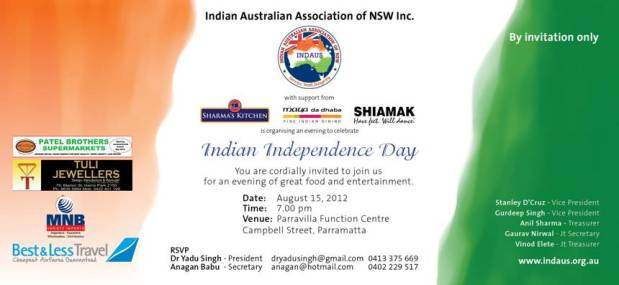 Celebrating Indian Independence Day in Sydney on the Independence Day ie 15th August, 2012!
