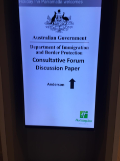 Notice at the door of the meeting room in Holiday Inn Parramatta NSW